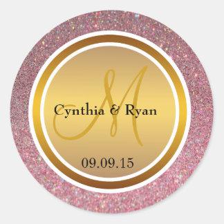 Pink Glitter & Metallic Gold Wedding Monogram Classic Round Sticker