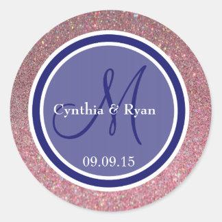 Pink Glitter & Midnight Blue Wedding Monogram Classic Round Sticker