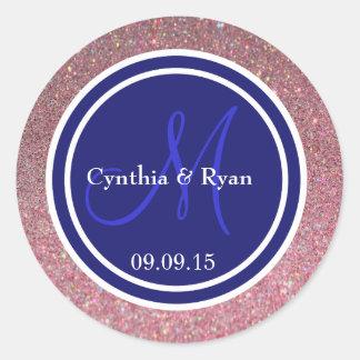 Pink Glitter & Midnight Blue Wedding Monogram Seal