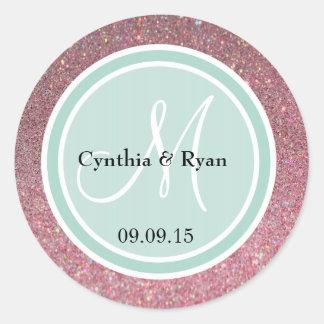 Pink Glitter & Mint Green Wedding Monogram Classic Round Sticker