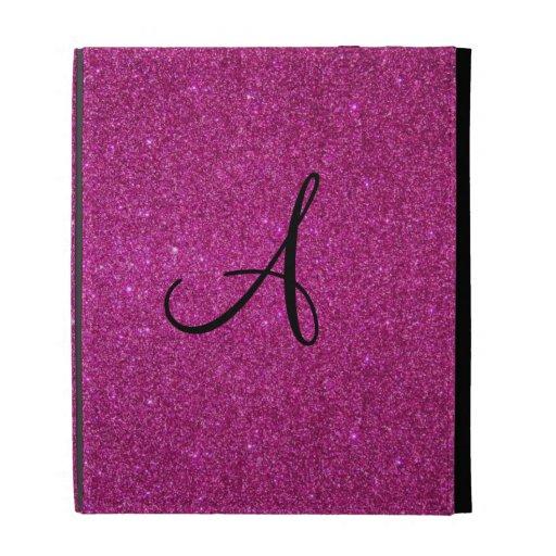 Pink glitter monogram iPad case