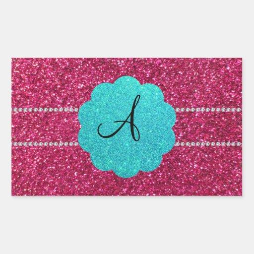 Pink glitter monogram diamonds rectangular sticker