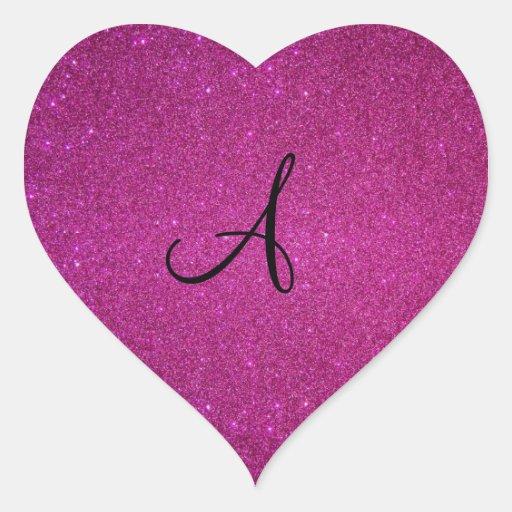 Pink glitter monogram heart sticker