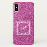 Pink glitter monogram iPhone X case