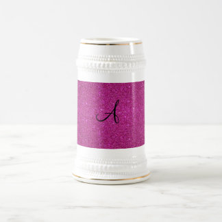 Pink glitter monogram coffee mug