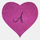 Pink glitter monogram sticker
