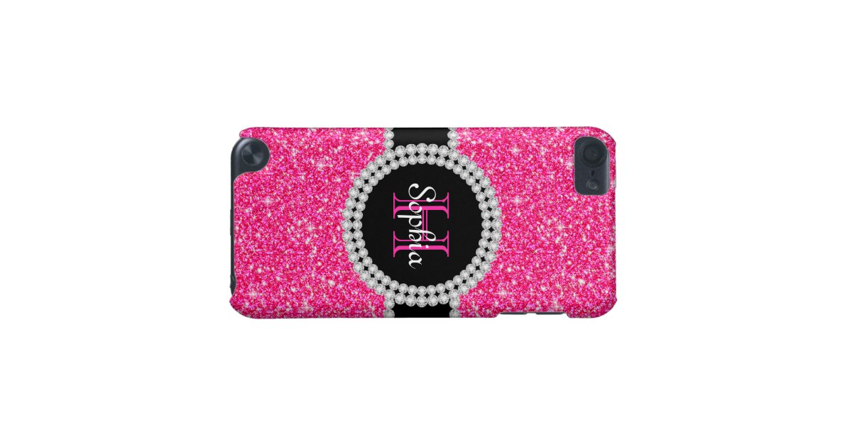 pink glitter monogrammed 5g ipod touch case