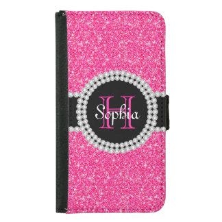 Pink Glitter Monogrammed Galaxy 5 Wallet Case