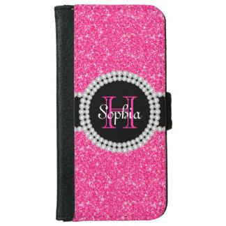 Pink Glitter Monogrammed iPhone 6 Wallet Case
