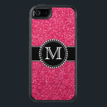 "Pink Glitter Monogrammed Otterbox OtterBox iPhone 5/5s/SE Case<br><div class=""desc"">Pink glitter,  personalized with your monogram.