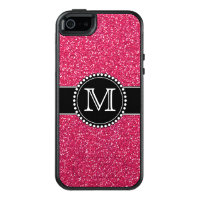 Pink Glitter Monogrammed Otterbox OtterBox iPhone 5/5s/SE Case