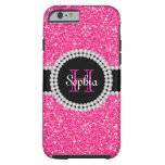Pink Glitter Monogrammed Tough iPhone 6 Case