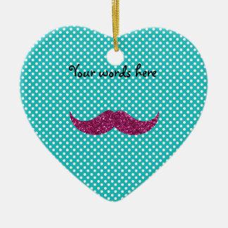 Pink glitter mustache ceramic ornament