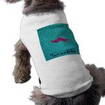 Pink glitter mustache doggie shirt
