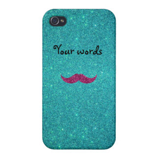 Pink glitter mustache iPhone 4/4S covers