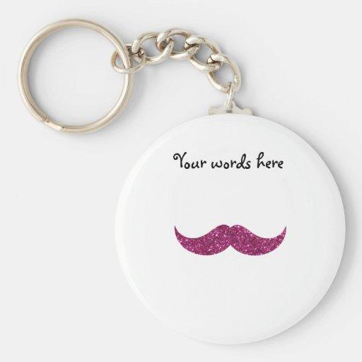 pink glitter mustache keychain