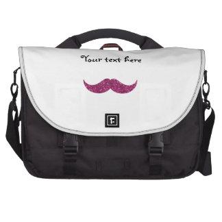 pink glitter mustache computer bag