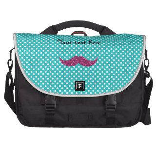 Pink glitter mustache laptop messenger bag