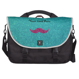 Pink glitter mustache laptop computer bag
