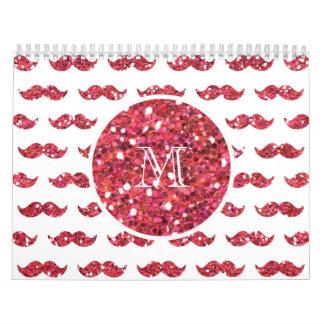 Pink Glitter Mustache Pattern Your Monogram Wall Calendars