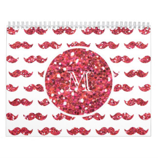 Pink Glitter Mustache Pattern Your Monogram Calendar