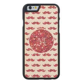Pink Glitter Mustache Pattern Your Monogram Carved Maple iPhone 6 Case