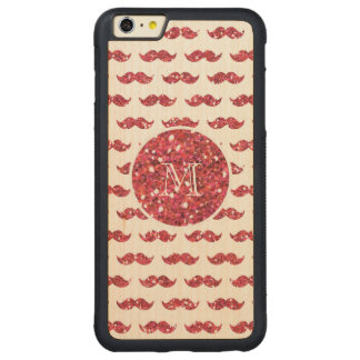 Pink Glitter Mustache Pattern Your Monogram Carved Maple iPhone 6 Plus Bumper Case