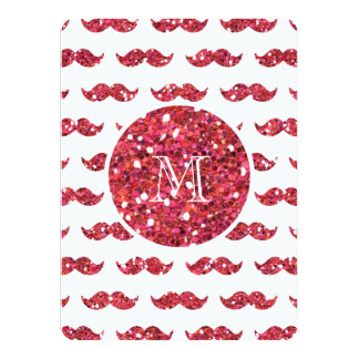 Pink Glitter Mustache Pattern Your Monogram 5.5x7.5 Paper Invitation Card