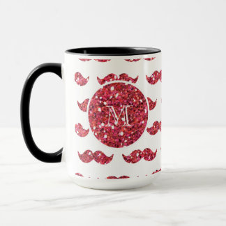Pink Glitter Mustache Pattern Your Monogram Mug