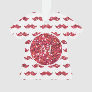 Pink Glitter Mustache Pattern Your Monogram Ornament
