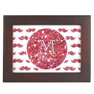 Pink Glitter Mustache Pattern Your Monogram Keepsake Box