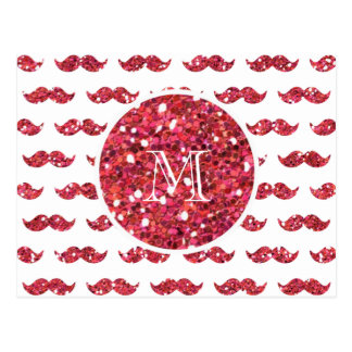 Pink Glitter Mustache Pattern Your Monogram Postcard