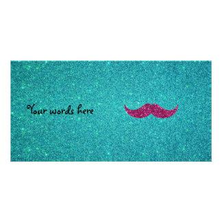 Pink glitter mustache photo card