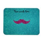 Pink glitter mustache rectangular magnet