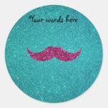 Pink glitter mustache round stickers