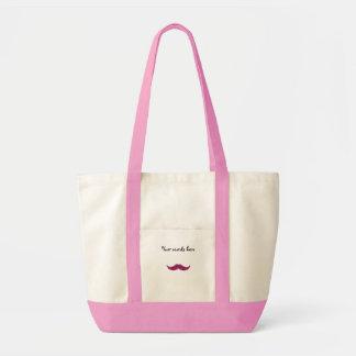 pink glitter mustache tote bag