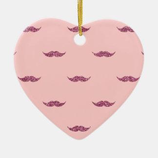 Pink Glitter Mustaches Ceramic Ornament