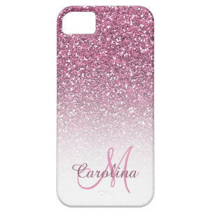 new products b2c2c b5755 Pink Glitter, Name and Monogram, Girly iPhone SE/5/5s Case