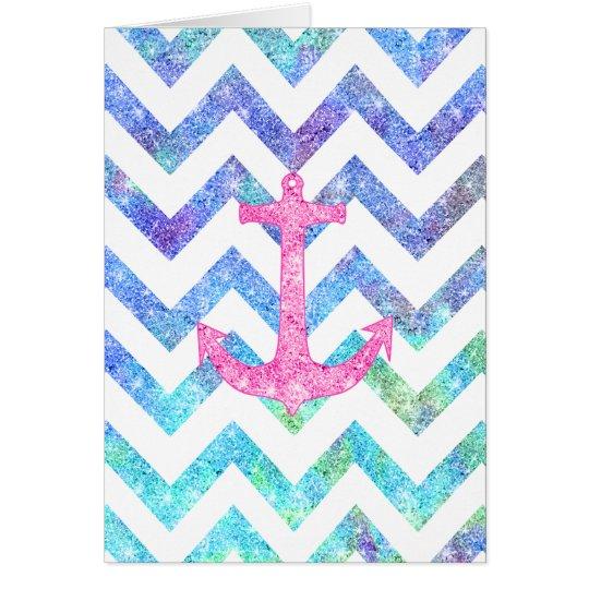 Pink Glitter Nautical Anchor Watercolor Chevron Card