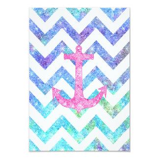 """Pink Glitter Nautical Anchor Watercolor Chevron 3.5"""" X 5"""" Invitation Card"""