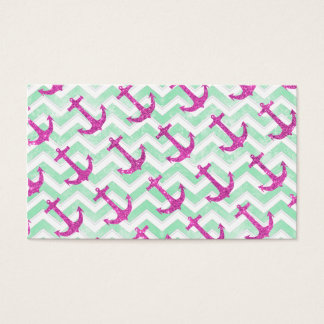 Pink Glitter Nautical Anchors Retro Chevron Business Card