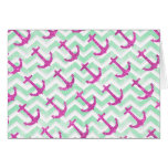 Pink Glitter Nautical Anchors Retro Chevron Stationery Note Card