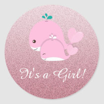 Pink Glitter ombre Its a Girl Baby Shower sticker