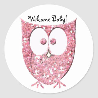 Pink Glitter Owl Personalized Stickers