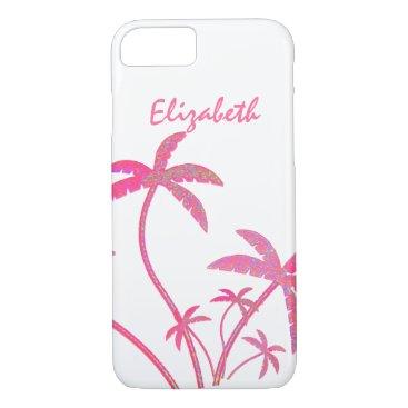 Hawaiian Themed Pink Glitter Palm Trees iPhone 8/7 Case