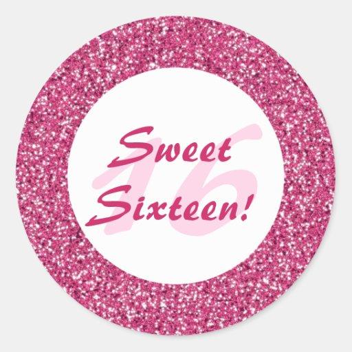 Pink Glitter Pattern Sweet Sixteen Round Sticker