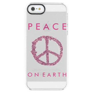Pink Glitter Peace Clear iPhone SE/5/5s Case