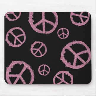 Pink Glitter Peace Mouse Pad