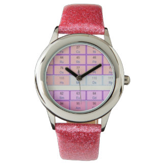 Pink Glitter Periodic Table of Elements Watch