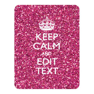 Pink Glitter Personalized KEEP CALM AND Your Text 4.25x5.5 Paper Invitation Card